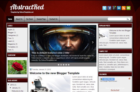 abstractred-blogger-template
