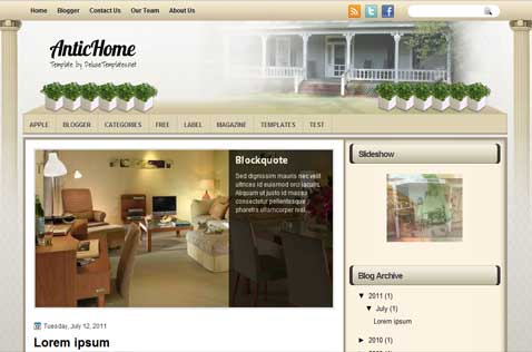antichome-blogger-template