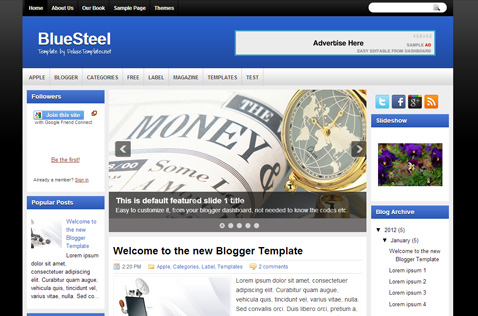 bluesteel-blogger-template