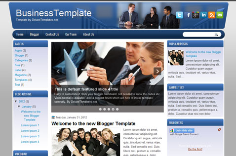 Business blue blogger template free blogger template business theme blogger template wajeb