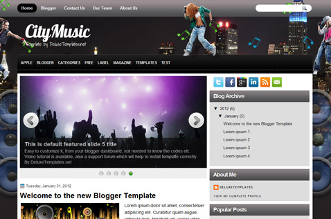 Music blogger templates deluxetemplates citymusic blogger template pronofoot35fo Images