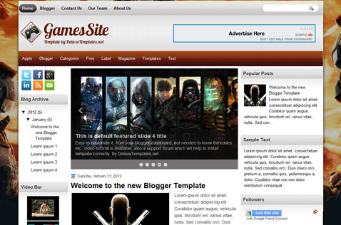 gamessite-blogger-template