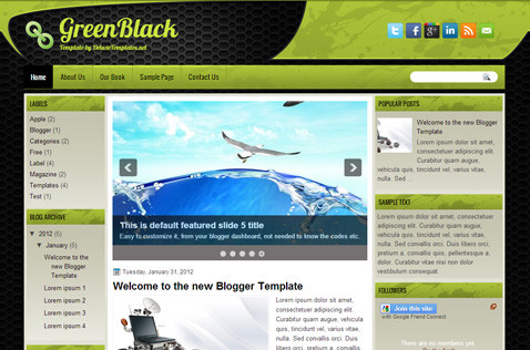 greenblack-blogger-template