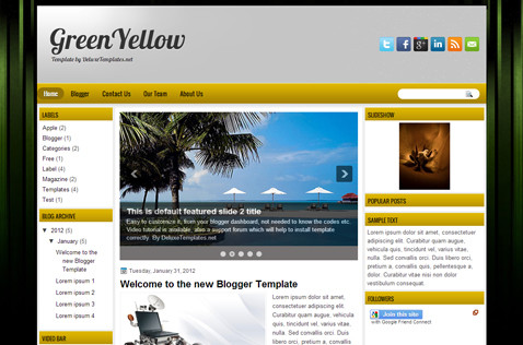 greenyellow-blogger-template