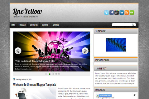 lineyellow-blogger-template