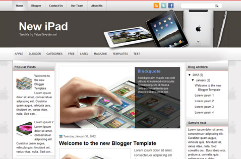 newipad-blogger-template