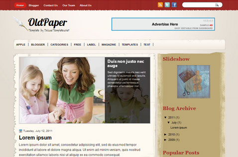 oldpaper-blogger-template