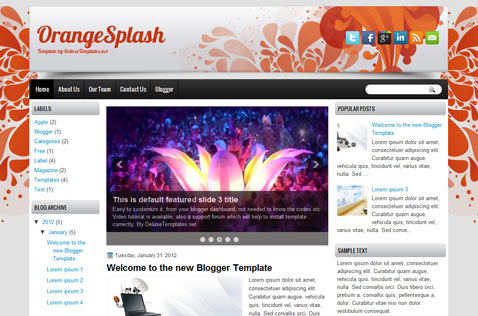 Orangesplash blogger template deluxetemplates for Wordpress splash page template