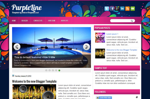 purpleline-blogger-template