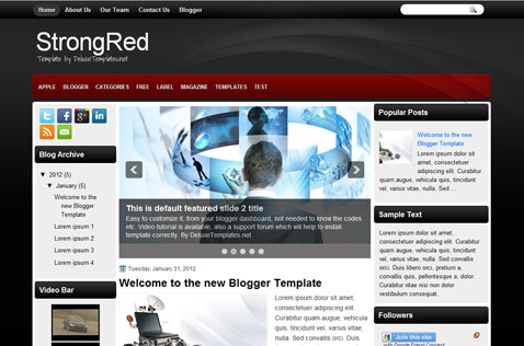 strongred-blogger-template