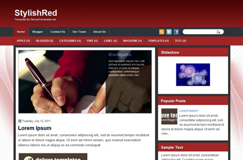 stylishred-blogger-template