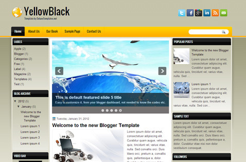 yellowblack-blogger-template