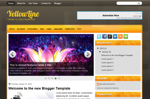 yellowline-blogger-template